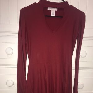 long sleeve red high neck dress